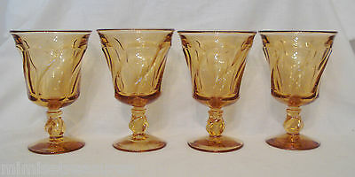 "Fostoria Jamestown Amber 4 Water Glasses Footed Glass 5 3/4"" Set Gold Goblet"