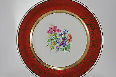 Vintage Dresden Duchess by Harker USA 22 k Gold Floral Dinner Plate