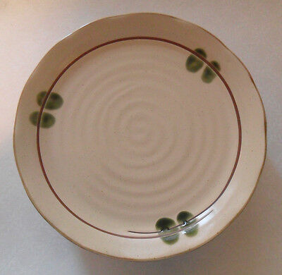 Pottery Stoneware PLATE from JAPAN Beige Brown & Olive Green Zen Style Gorgeous