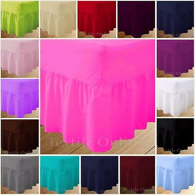 Fitted Valance Bed Sheet Plain Dyed Frilled Valance Single,Double,King,Super Kng