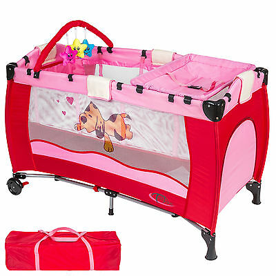 New Portable Child Baby Travel Cot Bed Playpen with Entryway pink