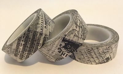 Washi Tape Antique Documents 15Mm X 10Mtr Planner Scrap Craft Wrap Mail Art