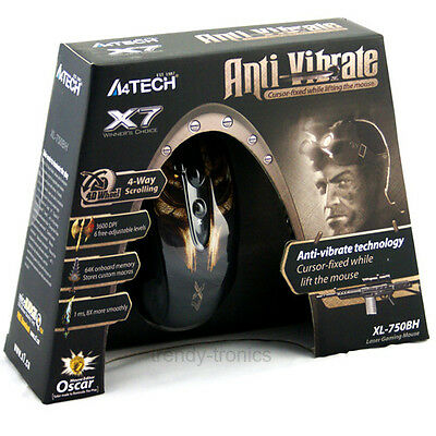 A4 Tech XL-750BH Laser Gaming 7080fps 6 Button Anti-Vibrate 3600DPI Mouse For PC