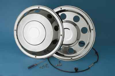 """4 x  19.5"""" Leyland DAF wheel trims hub caps covers stainless steel secure fixing"""