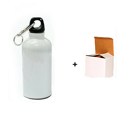 400ml SPARKLING WHITE SUBLIMATION STAINLESS SPORT WATER BOTTLE DRINK CYCLE FLASK