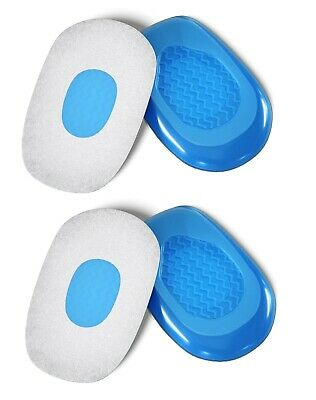 2 x  PAIRS Gel Foot Heel Cushion Cups Support Spur Insoles Pad Pain Arthiritis