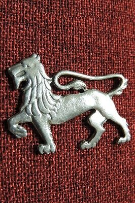Lion Passant Heraldry SCA Medieval Regal Royal Coat of Arms Silver Pewter Brooch