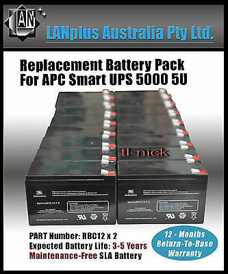 Replacement Battery for APC Battery Pack Cartridge RBC12 x2 Smart UPS 5000 5U