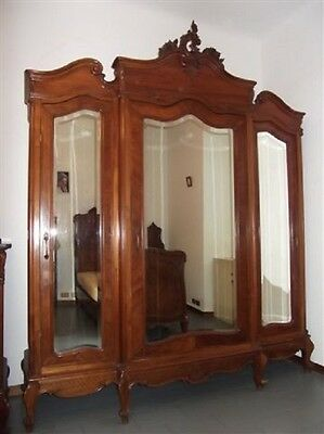 Beautiful Monumental Carved Walnut Original Italian Antique Armoire - 13It049A