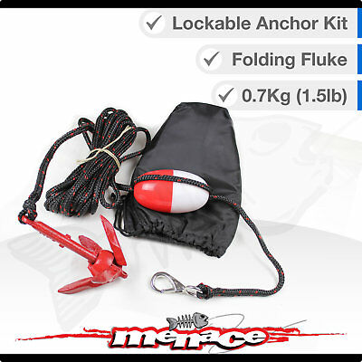 Small 0.7kg Folding Fluke Lockable Anchor Kit - Canoe / Kayak with Bag & Bouy