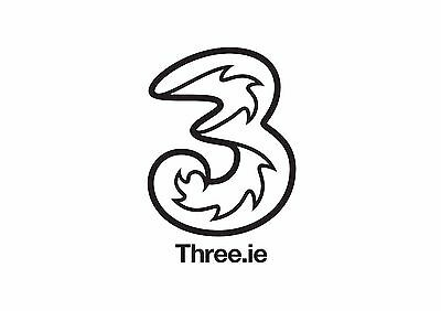 Three 3 Sim. All You Can Eat Data in IRELAND with €20 topup. Sim loaded with €20