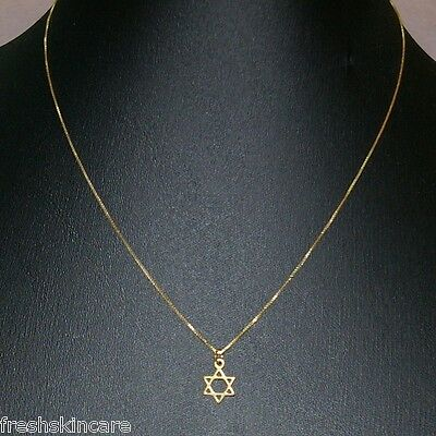 14kt GOLD FILLED Small STAR of DAVID Charm Pendant with BOX Chain NECKLACE