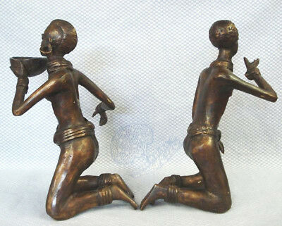 Brass African Tribal Man & Woman Hand Made Sculpture