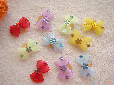 100 x dog cat pet Multicolored bows hairpin grooming headress pets lovely gift