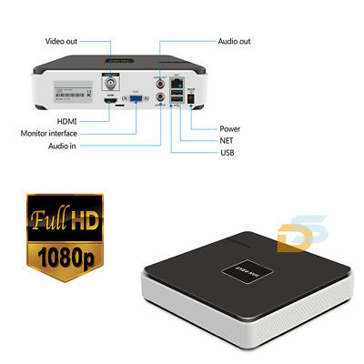 NVR 8 CANALI FULL HD VIDEOSORVEGLIANZA DVR 1080p HDMI P2P CLOUD APPLE/ANDROID