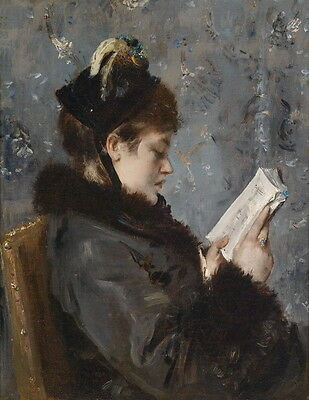 Wonderful Oil painting female portrait noblelady young beauty reading book