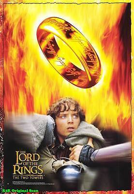 MOVIE POSTER ~Two Towers Lord of the Rings 2002 Film Sheet Ring Logo~1 3454