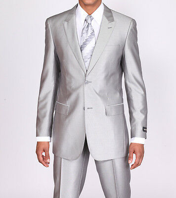 New Men's 2 piece Slim Fit Luxurious Wool Feel Suit 2 Button Silver Size 38R-60L