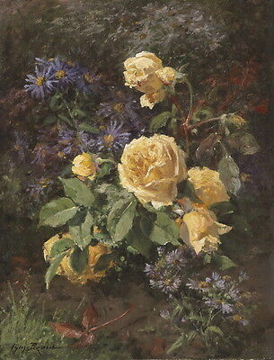 Dream-art Oil painting still life yellow roses flowers in landscape hand painted