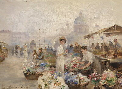 Beautiful Oil painting impressionism lady in flower market - flower fair canvas
