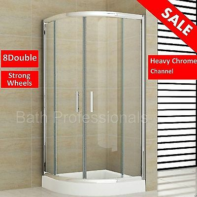 Shower Enclosure Bathroom Cubicle Quadrant Corner Screen Glass Tray 900x900MM KL