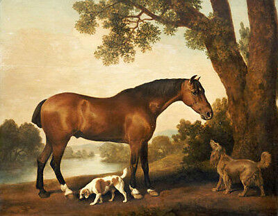 Art large Oil painting Hunter and Spaniels Horse Dog in landscape on canvas 36""
