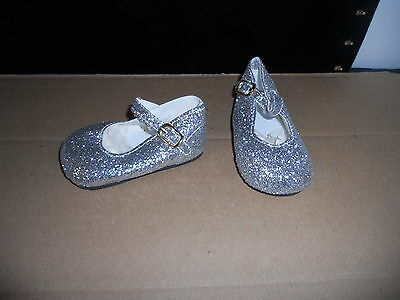 """98/50 Mm Silver Glitter Ankle Strap Shoes For 22"""" -23"""" My Twinn Doll"""