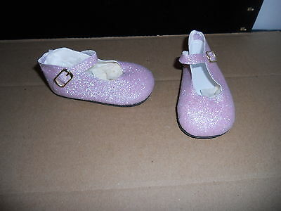 """98/50 Mm Purple Or Lavender Glitter Ankle Strap Shoes For 22"""" -23"""" My Twinn Doll"""