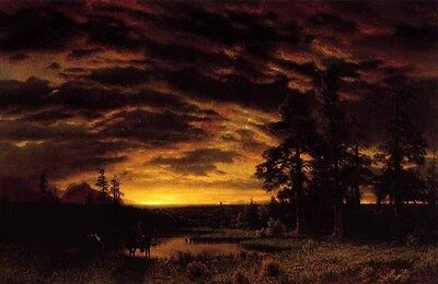 """Huge art Oil painting stunning landscape - Evening on the Prarie canvas 36"""""""