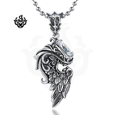 Clear simulated diamond crystal wing silver stainless steel soft gothic pendant
