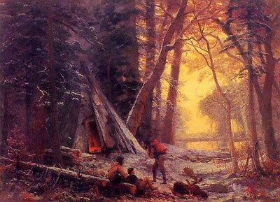 """Wonderful art Oil painting Moose Hunters Camp in forest landscape canvas 36"""""""