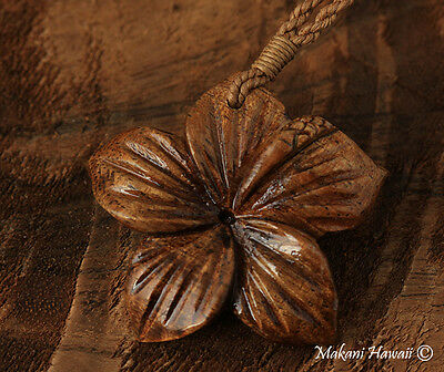 Koa Wood Hibiscus Flower Necklace KOA1129