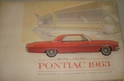 Old Vintage Brochure of Pontiac car from Canada 1963