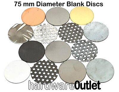 BLANK DISCS 75mm Diameter - Round Metal Plates Brass Steel Copper Aluminium 3""