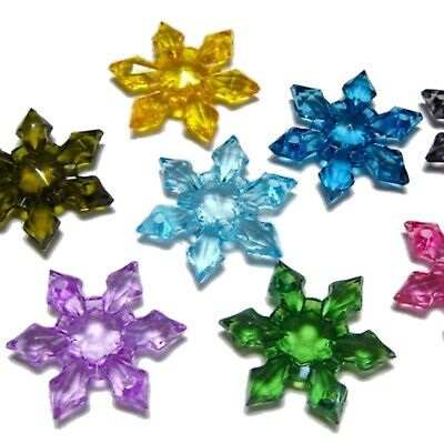 50 Mixed Colour Transparent Acrylic Snowflake Beads 28mm 2-hole Connector Beads