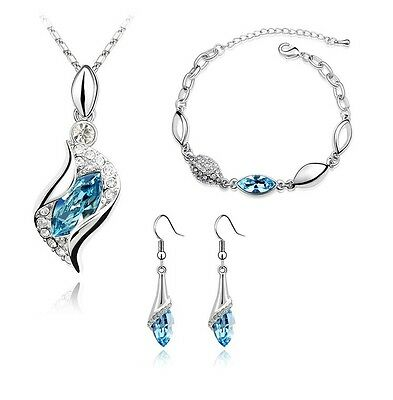 Jewellery Set Ocean Blue Crystal Eyes Drop Earrings Necklace & Bracelet S298