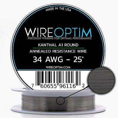 Kanthal 34 Gauge AWG A1 Wire 25ft Roll .16002mm , 21.1 Ohms/ft Resistance