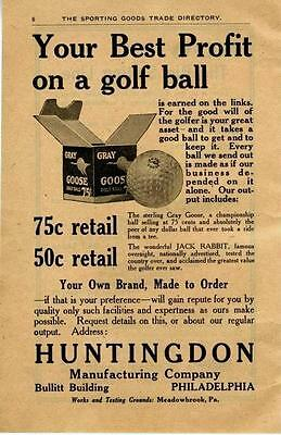 Huntingdon Manufacturing Co. - Gray Goose Golf Balls - Philadelphia, Pa. - 1924