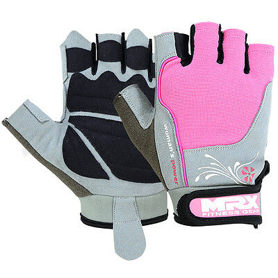 Women's Weight Lifting Gloves Leather Gym Training Fitness Ladies Strap Pink MRX