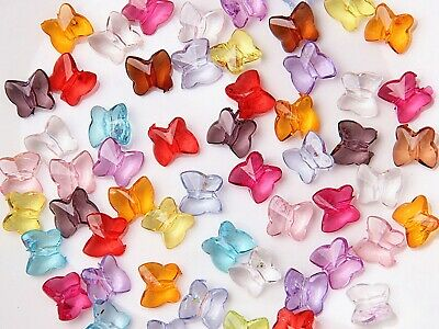 200 Mixed Colour Transparent Acrylic Faceted Butterfly Beads 10X8mm
