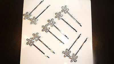 Beautiful Silver Crystal Flower Hairgrips - Clips Slides Wedding Bridal Hair