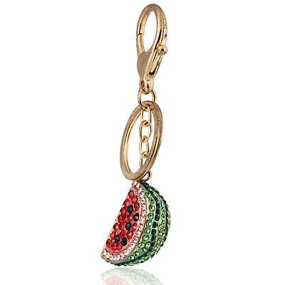 Handbag Buckle Charms Accessories Crystal Watermelon Keyrings Key Chains HK42