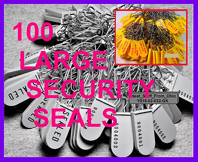 Security Seals - 100 Seals - Discount Priced, Padlock-Style, Large, New