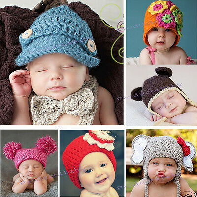 New Baby Boy Girl Crochet Beanie Hat 0-3, 3-6, 6-12 M Photography Photo Props
