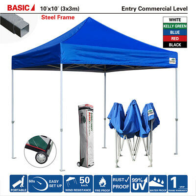 New Heavy Duty EZ Pop Up Canopy 10X10 Commercial Canopy Party Tent W/Wheeled bag  sc 1 st  PicClick & Heavy Duty Waterproof Ez Pop Up Canopy 10x10 Blue Commercial Tent ...