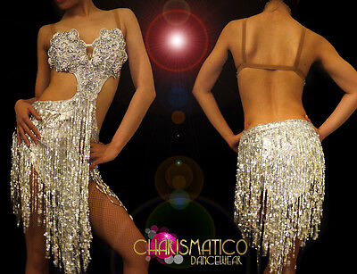 CHARISMATICO Latin Styled Silver Dance dress with sequin fringe and beadwork