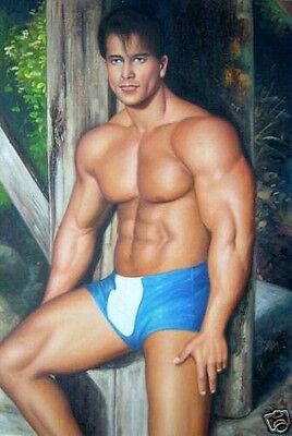 Huge GAY oil painting nude male portrait strong young man standing canvas 36""