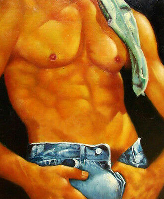 Huge GAY oil painting male portrait Wearing jeans handpainted canvas 36""