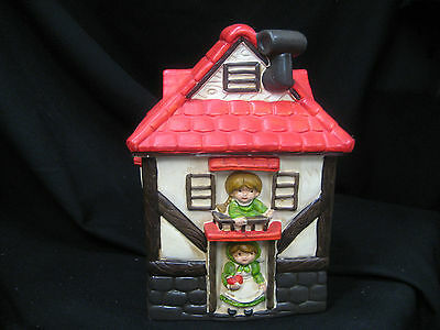 """Vintage cookie jar house with kids in window and door way 10 1/2"""" tall"""