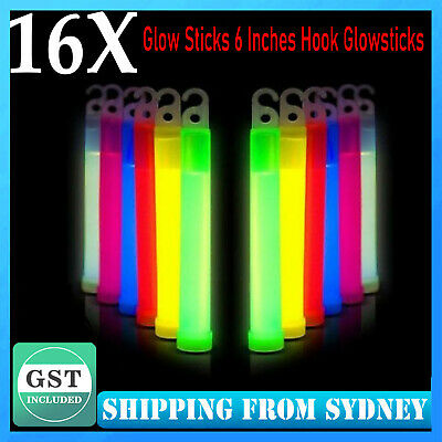 16X Glow Sticks 6 Inches Hook Glowsticks Lanyard Poi Party Glow in the dark Deco